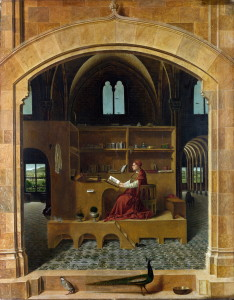 Full title: Saint Jerome in his Study Artist: Antonello da Messina Date made: about 1475 Source: http://www.nationalgalleryimages.co.uk/ Contact: picture.library@nationalgallery.co.uk Copyright © The National Gallery, London