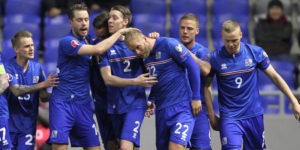 Iceland's players celebrate after scoring a goal during the Euro 2016 qualifying football match between Kazakhstan and Iceland in Astana on March 28, 2015. AFP PHOTO / STANISLAV FILIPPOV (Photo credit should read STANISLAV FILIPPOV/AFP/Getty Images)