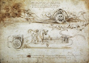 ********: War machine, by Leonardo da Vinci (1452-1519), drawing. (Inv 15583). Turin Biblioteca Reale (Royal Library) *** Permission for usage must be provided in writing from Scala.